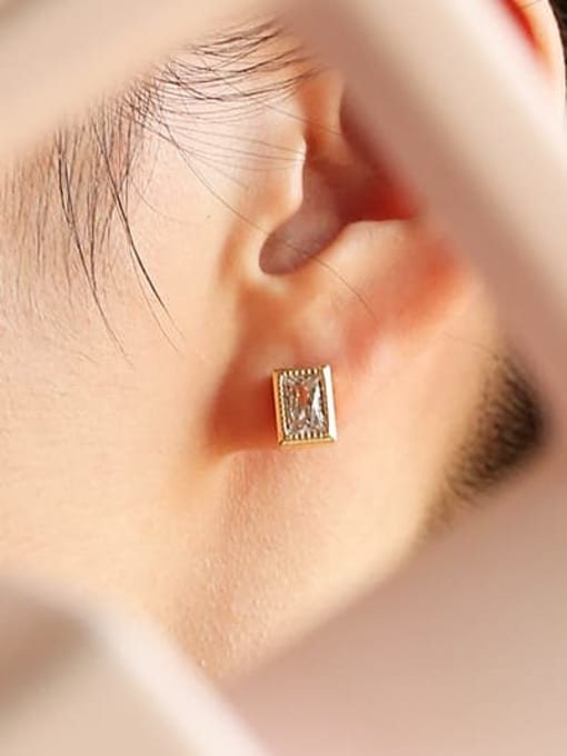 Five Color Brass Cubic Zirconia Geometric Hip Hop Stud Earring 1