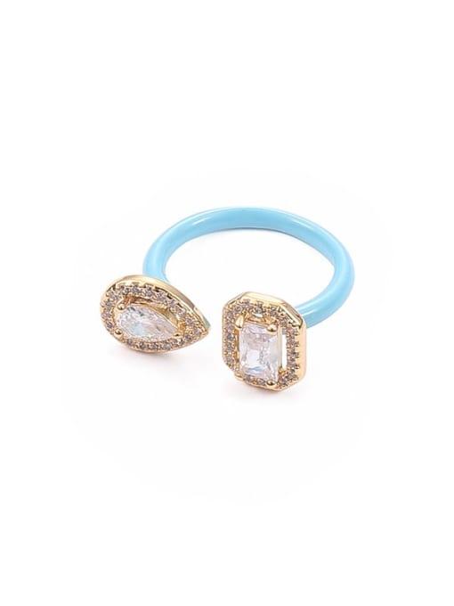 Macarone blue Zinc Alloy Enamel Glass Stone Geometric Minimalist Band Ring