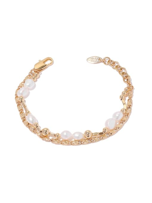 ACCA Brass Imitation Pearl Geometric Hip Hop Strand Bracelet