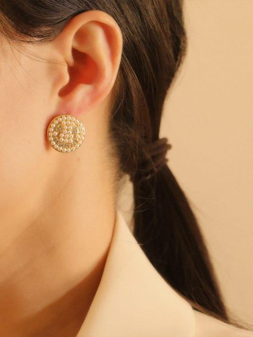 HYACINTH Brass Imitation Pearl Geometric Bohemia Stud Earring 1