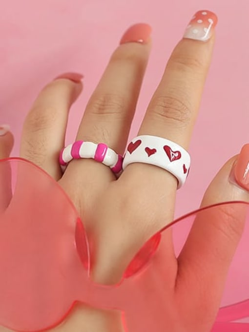 Five Color Zinc Alloy Enamel Heart Minimalist Band Ring 3