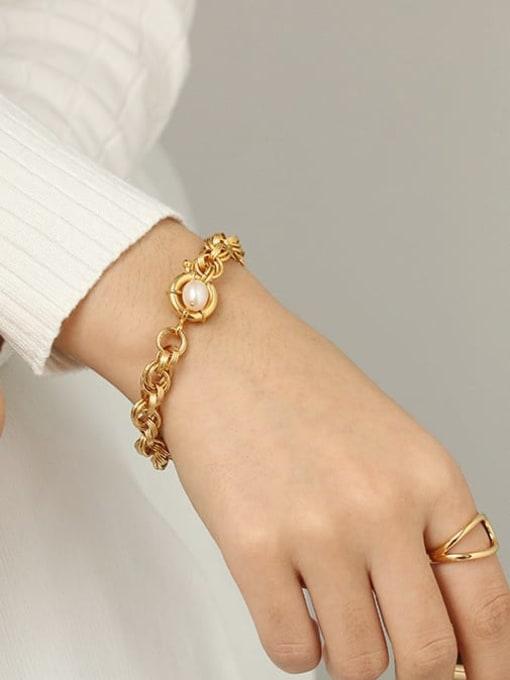 TINGS Brass Imitation Pearl Geometric Vintage Link Bracelet 1