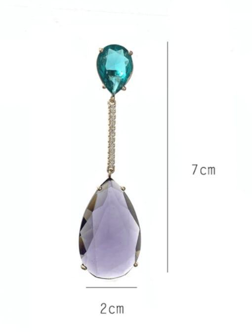 SUUTO Brass Glass Stone Water Drop Statement Drop Earring 3