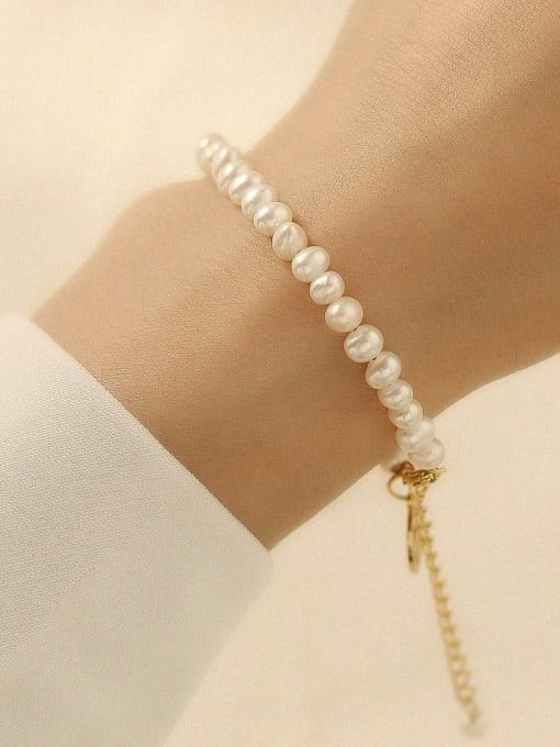 HYACINTH Brass Imitation Pearl Geometric Minimalist Beaded Bracelet 2
