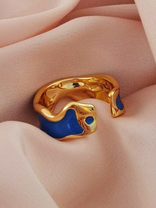 HYACINTH Brass Enamel Geometric Minimalist Band Ring 3