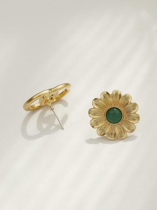 HYACINTH Brass Acrylic Asymmetric flowers Geometric Vintage Stud Trend Korean Fashion Earring 3