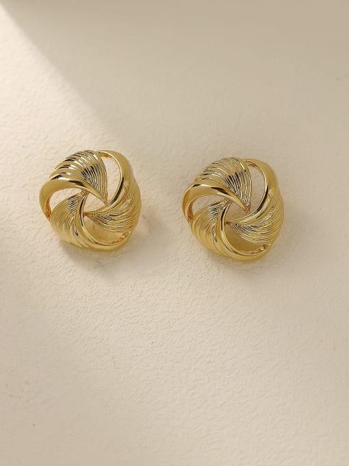 HYACINTH Brass Hollow Geometric Vintage Stud Trend Korean Fashion Earring 0