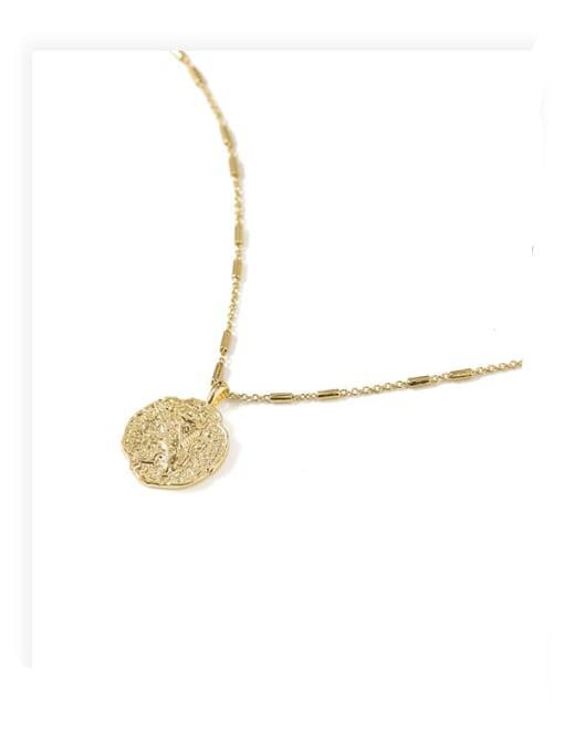 ACCA Brass Lion Vintage round pendant Necklace 3