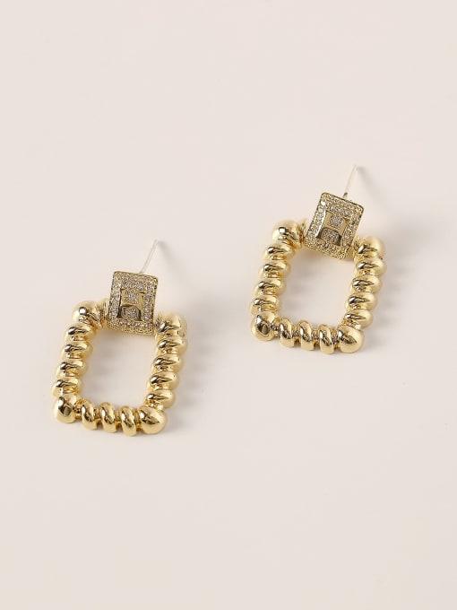 HYACINTH Brass Hollow Geometric Vintage Drop Earring 3