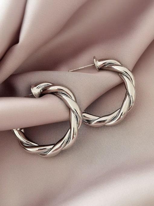 White K 30mm Brass  Twist Geometric Vintage Hoop Earring