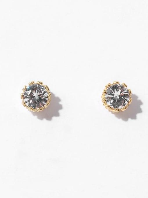 Round crown stud Brass Cubic Zirconia Geometric Minimalist Stud Earring