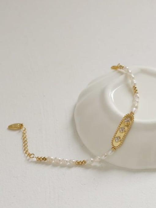 ACCA Brass Freshwater Pearl Flower Vintage Bracelet 1