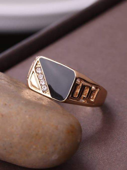 HISON Zinc Alloy Enamel Triangle Vintage Band Ring 3