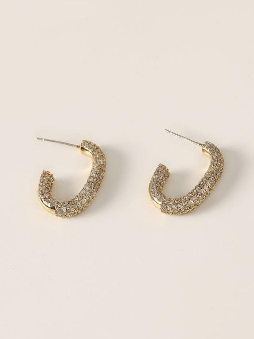 HYACINTH Brass Cubic Zirconia Geometric Minimalist Stud Earring 3