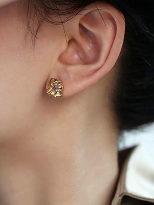 Five Color Brass Cubic Zirconia Irregular Hip Hop Stud Earring 2