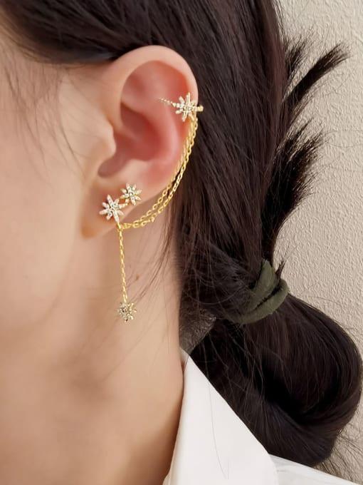 HYACINTH Brass Cubic Zirconia Star Minimalist Ear Cuff Earring 2