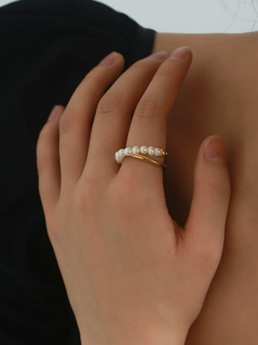Five Color Brass Imitation Pearl Geometric Vintage Stackable Ring 1