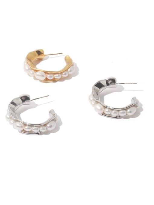 TINGS Brass Imitation Pearl Vintage  C shape Stud Earring 3