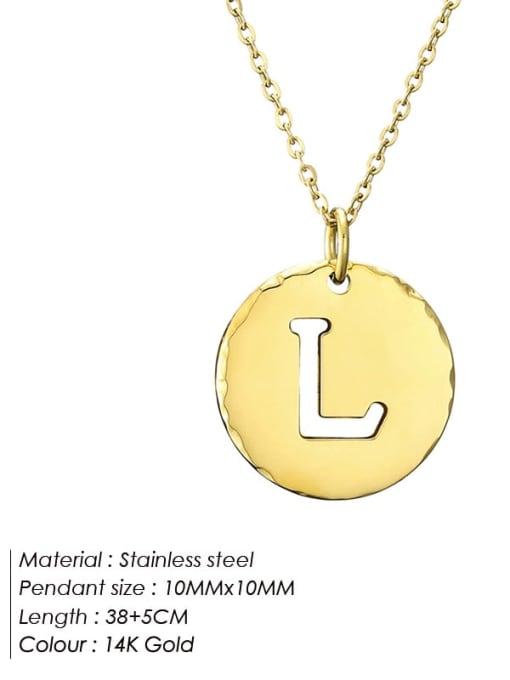 L Titanium Steel Letter Minimalist Round Pendant Necklace