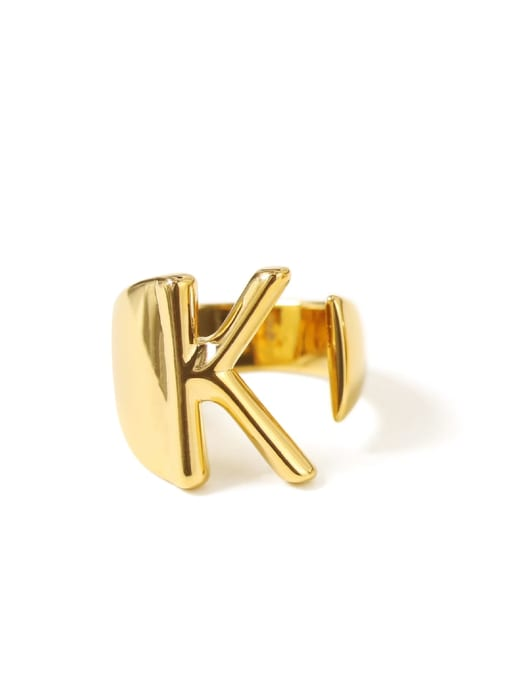 K Brass  26 Letter Vintage Band Ring