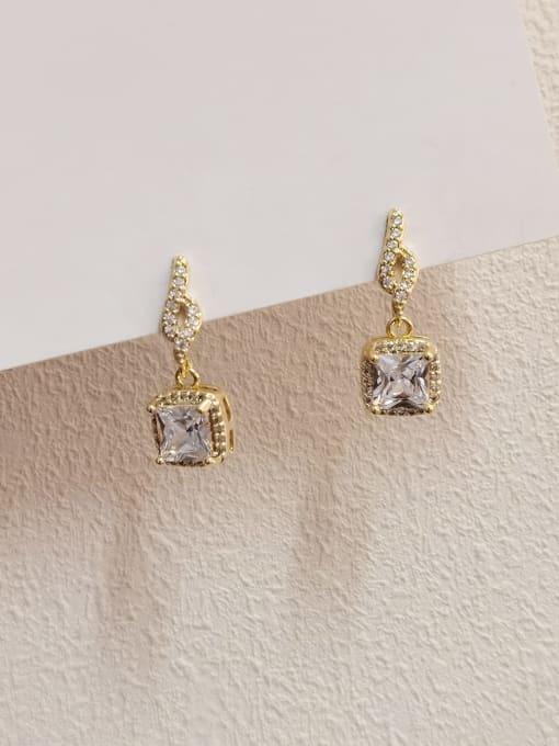 14k gold Brass Cubic Zirconia Geometric Minimalist Drop Earring