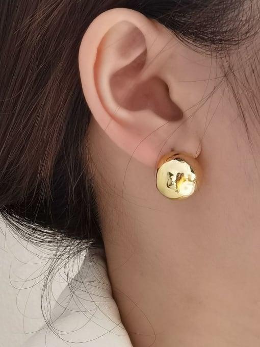 HYACINTH Brass  Minimalist  Smooth Geometric  Stud Earring 1