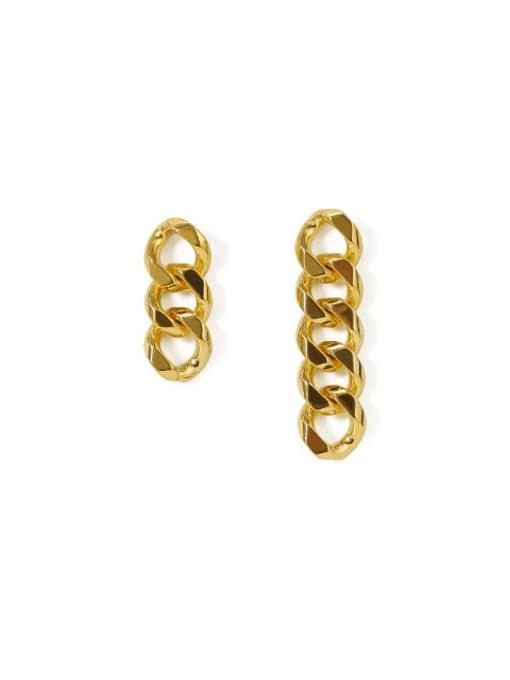 golden Brass Hollow Geometric Chain Asymmetry Minimalist Drop Earring