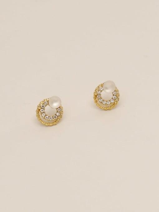 HYACINTH Brass Imitation Pearl Round Ethnic Stud Earring 2
