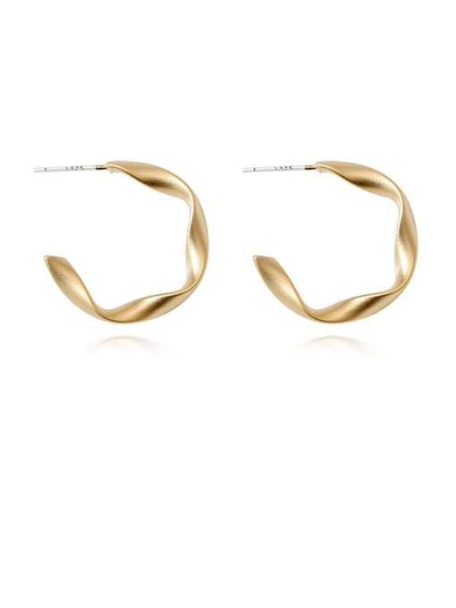 HYACINTH Brass Smooth Geometric Minimalist Stud Earring