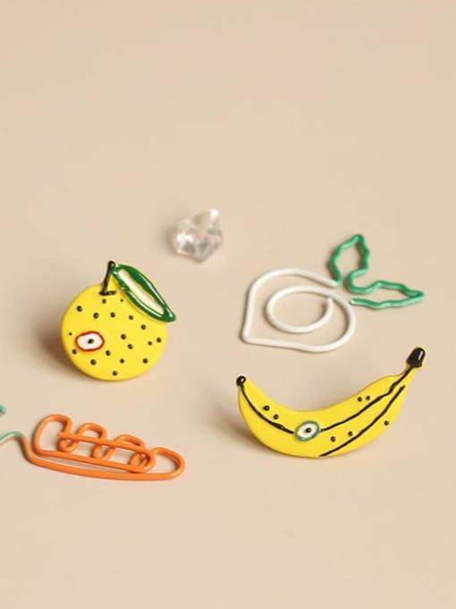 Five Color Alloy Enamel Cute Asymmetry Friut  Stud Earring
