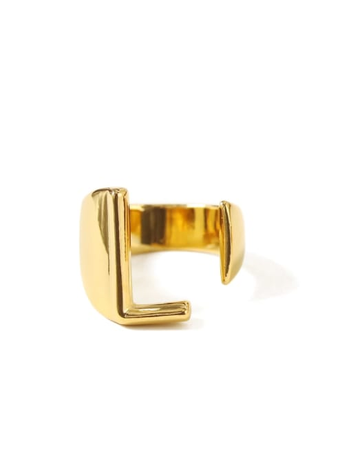 L Brass  26 Letter Vintage Band Ring