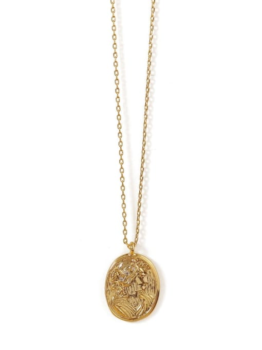 ACCA Brass Geometric Vintage Pendant  Necklace