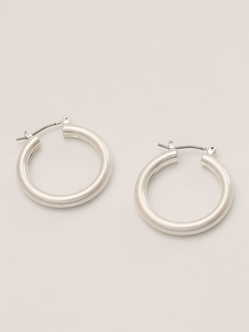 white gold Brass Geometric Minimalist Hoop Earring