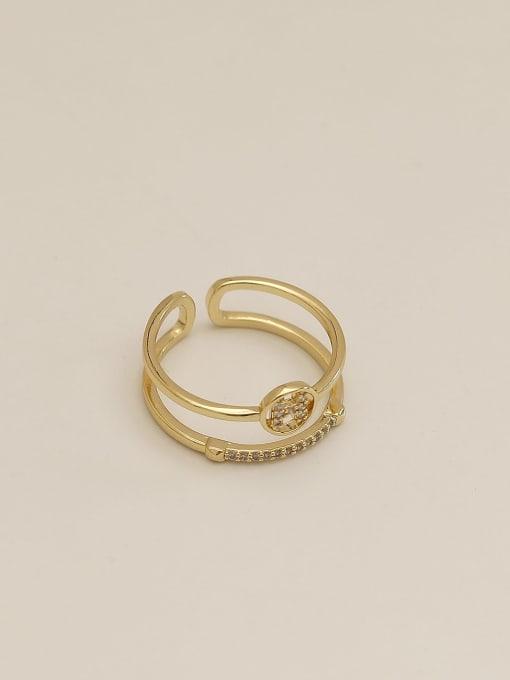 HYACINTH Brass Cubic Zirconia Geometric Vintage Band Ring 1