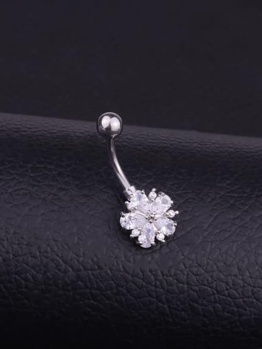HISON Stainless steel Cubic Zirconia Flower Hip Hop Belly Rings & Belly Bars 1