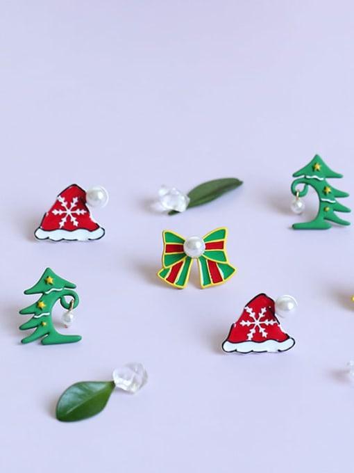 Five Color Alloy Enamel Bowknot Cute Christmas   Stud Earring 0