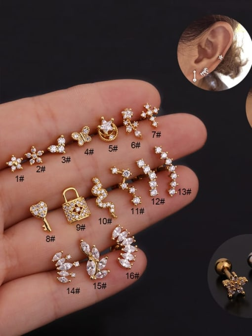 HISON Copper With Cubic Zirconia White Key Dainty Stud Earring