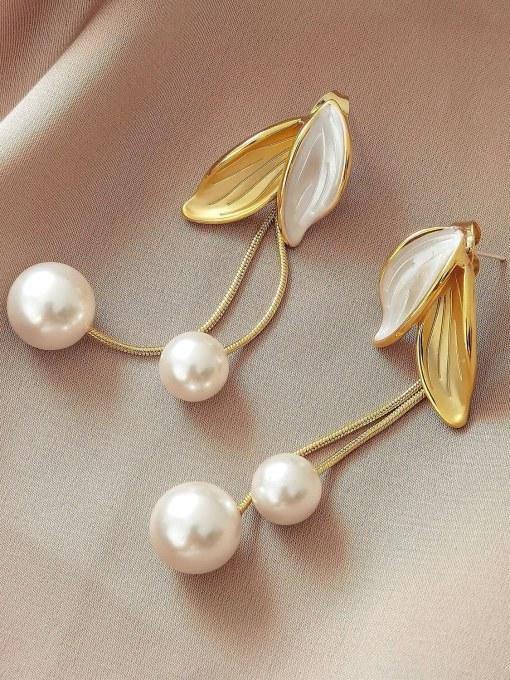 14k gold Brass Shell Tassel Minimalist Drop Earring