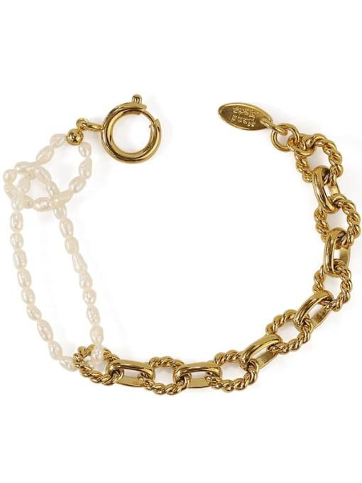ACCA Brass Imitation Pearl Geometric Vintage Beaded Bracelet 3