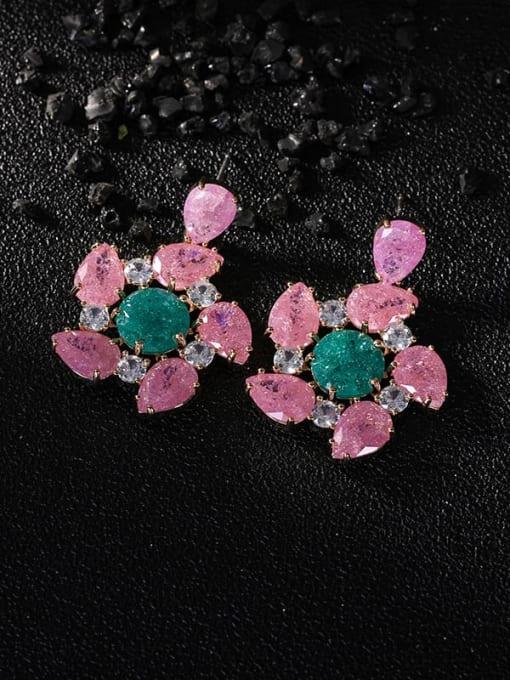 Pink Jade Brass Opal Flower Luxury Drop Earring