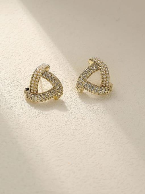 HYACINTH Brass Cubic Zirconia Triangle Minimalist Stud Earring 3