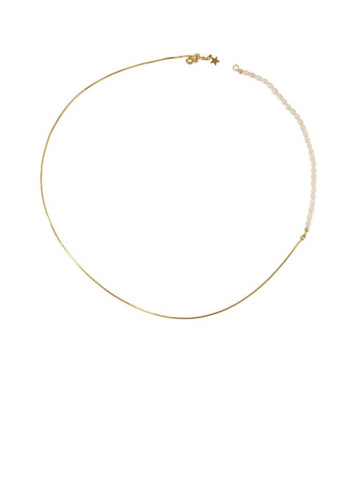 Pearl Necklace Brass Freshwater Pearl Geometric Minimalist Lariat Necklace