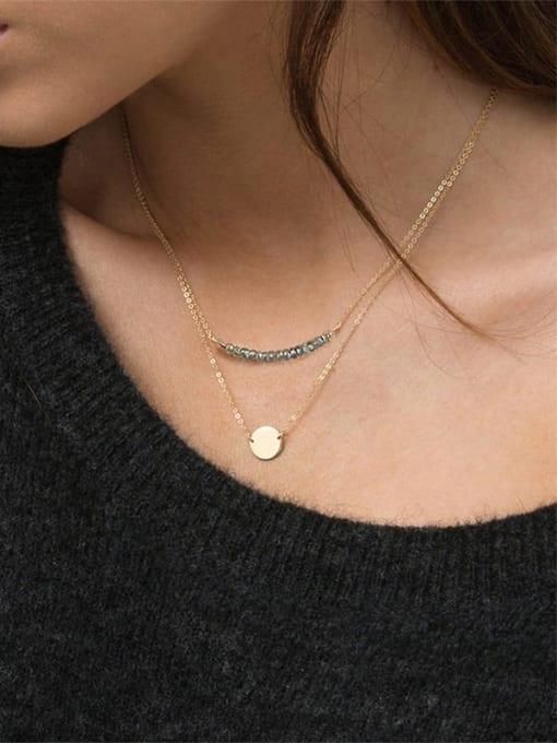 Desoto Stainless steel Bead Geometric Minimalist Necklace 1