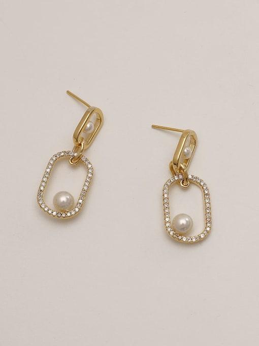 HYACINTH Brass Cubic Zirconia Geometric Minimalist Drop Earring 1
