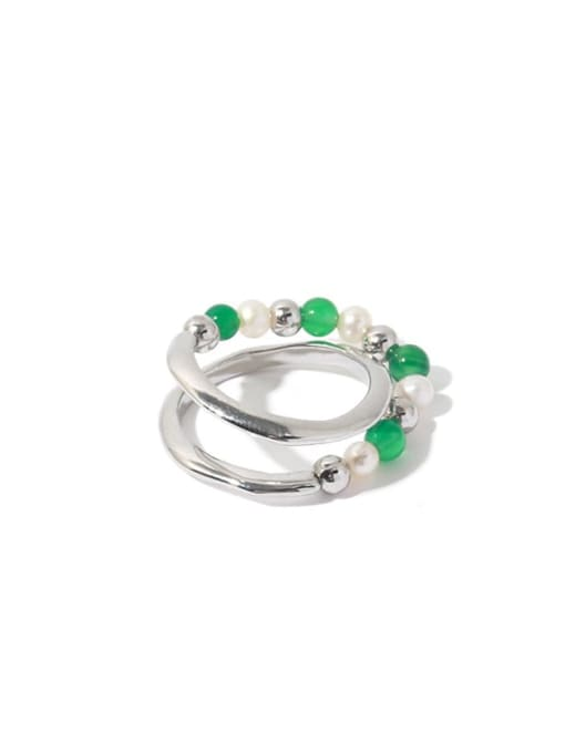 TINGS Brass Imitation Pearl Geometric Vintage Stackable Ring