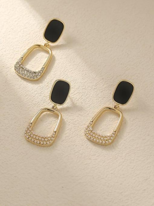 HYACINTH Brass Rhinestone Enamel Geometric Vintage Drop Trend Korean Fashion Earring 2