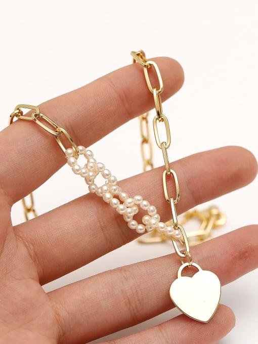 HYACINTH Brass Imitation Pearl Heart Minimalist Necklace 2