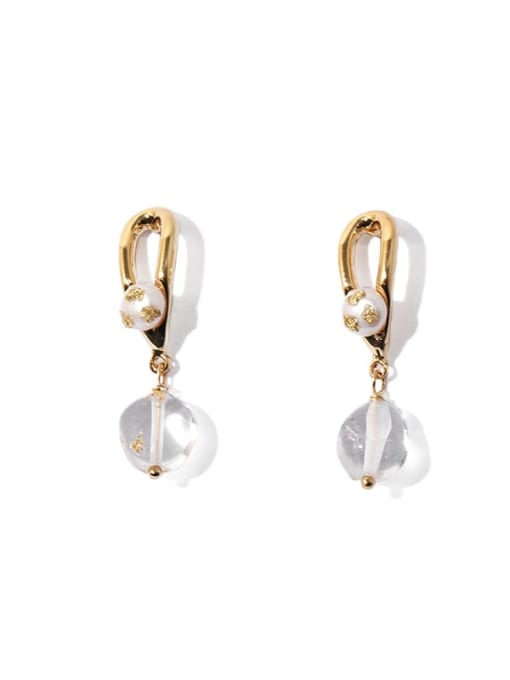 golden Brass Freshwater Pearl Water Drop Vintage Huggie Earring