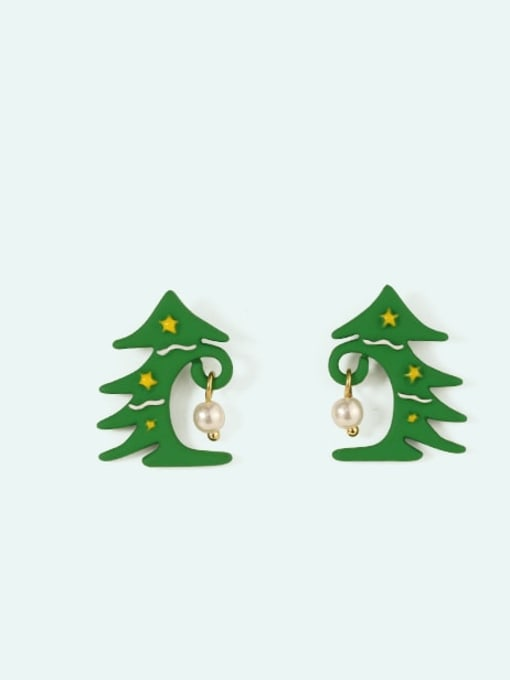 Christmas tree Alloy Enamel Bowknot Cute Christmas   Stud Earring