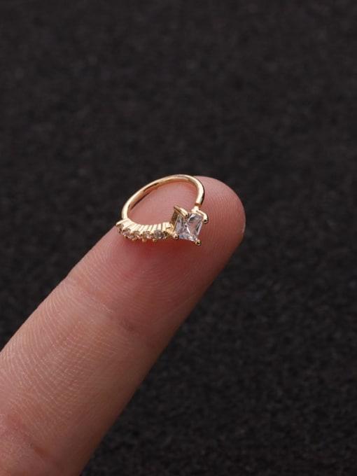 Gold  Square(Single) Brass Cubic Zirconia Heart Cute Huggie Earring